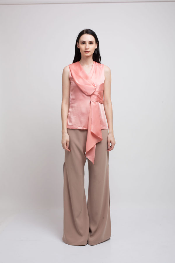 Hesley Peach Draped Top // Darcy Slits Trouser